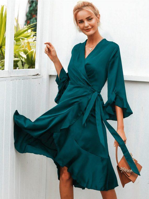 Butelkowa sukienka satynowa midi typu kimono wiązana 3