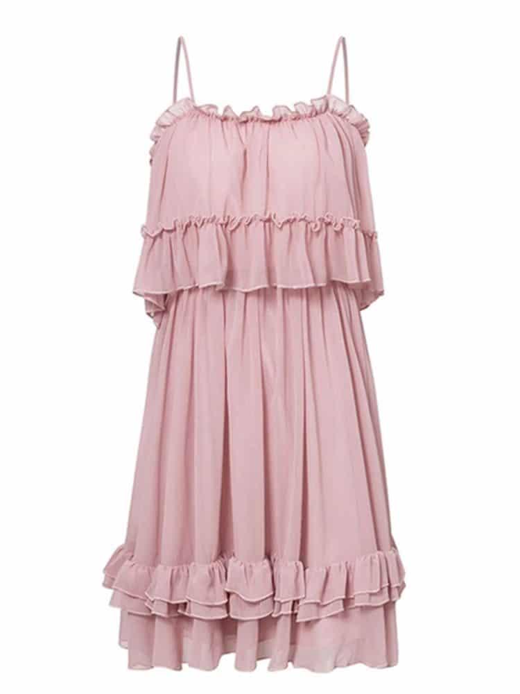 Sukienka szyfonowa pudrowy róż z odsłoniętymi ramionami 4