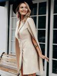 Żakietowa beżowa sukienka z peleryną ala marynarka 2