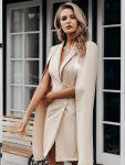Żakietowa beżowa sukienka z peleryną ala marynarka 4