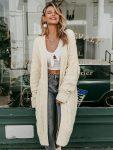 Beżowy sweter kardigan dlugi gruby splot 2