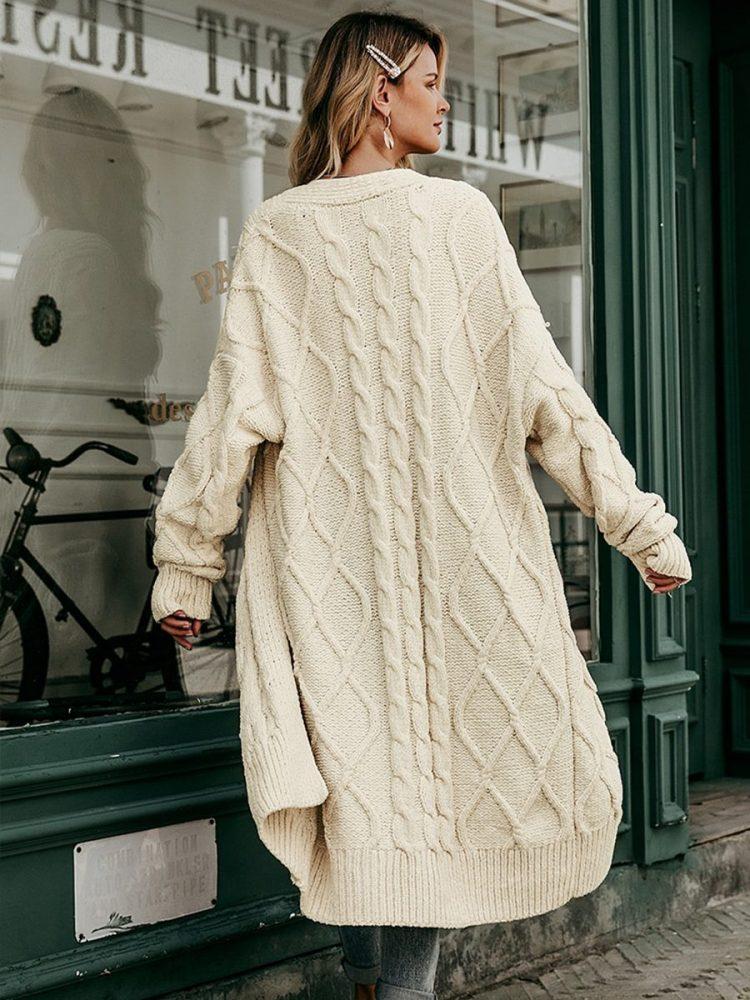 Beżowy sweter kardigan dlugi gruby splot 3