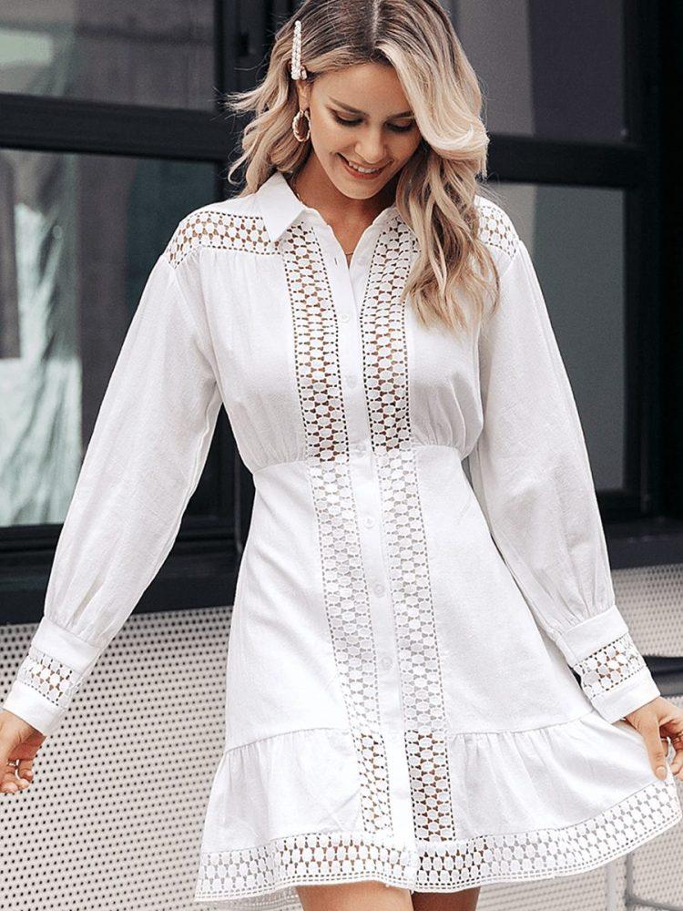 Biała koszulowa sukienka z gipiury długi rękaw 2