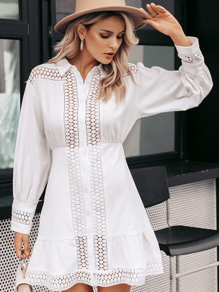 Biała koszulowa sukienka z gipiury długi rękaw 3