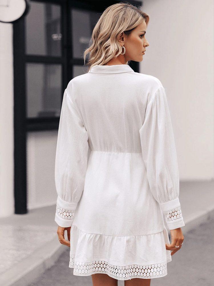 Biała koszulowa sukienka z gipiury długi rękaw 4