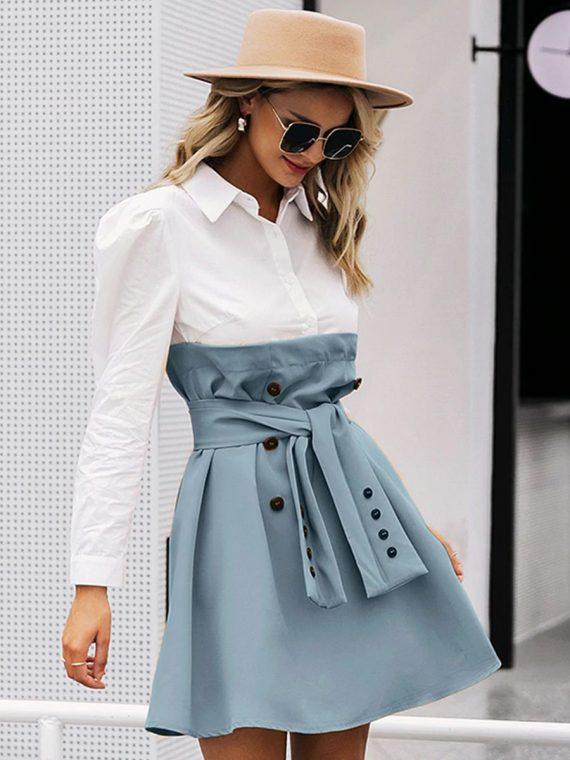 Biała sukienka z koszulowa górą i rozkloszowaną niebiesko szarą spódnicą 3