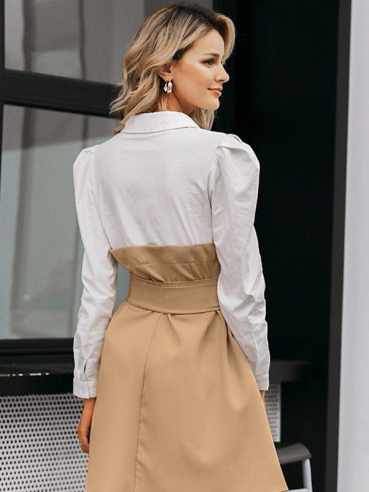 Biało beżowa sukienka rozkloszowana wiązana w pasie 5