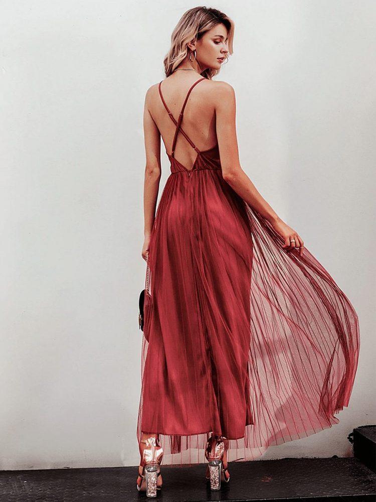 Ceglana długa sukienka z tiulowym rozkloszowanym dołem 2