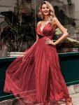 Ceglana długa sukienka z tiulowym rozkloszowanym dołem 3