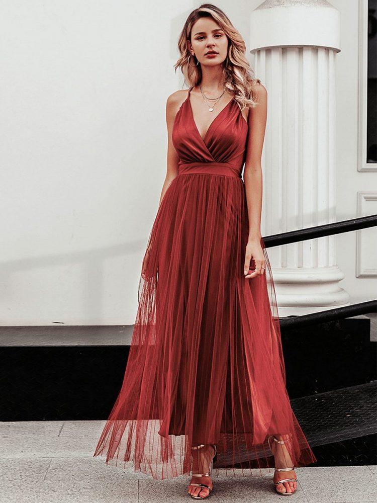 Ceglana długa sukienka z tiulowym rozkloszowanym dołem 4
