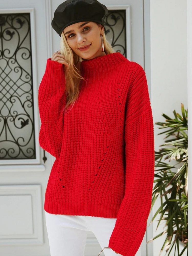Damski czerwony sweter z półgolfem 1