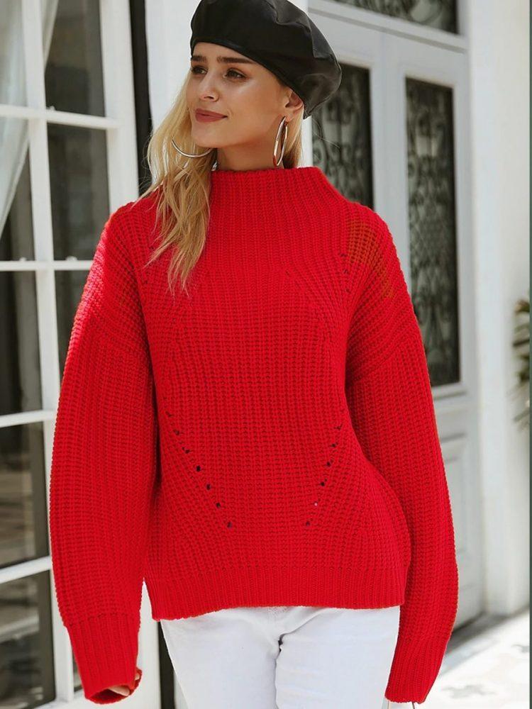 Damski czerwony sweter z półgolfem 2