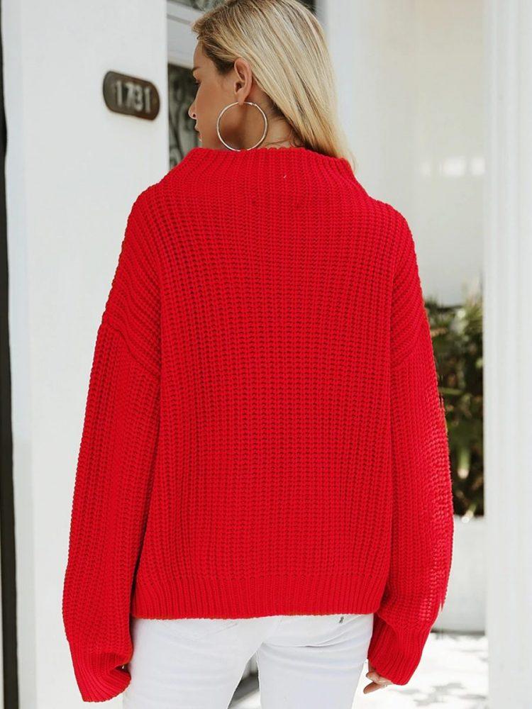 Damski czerwony sweter z półgolfem 3
