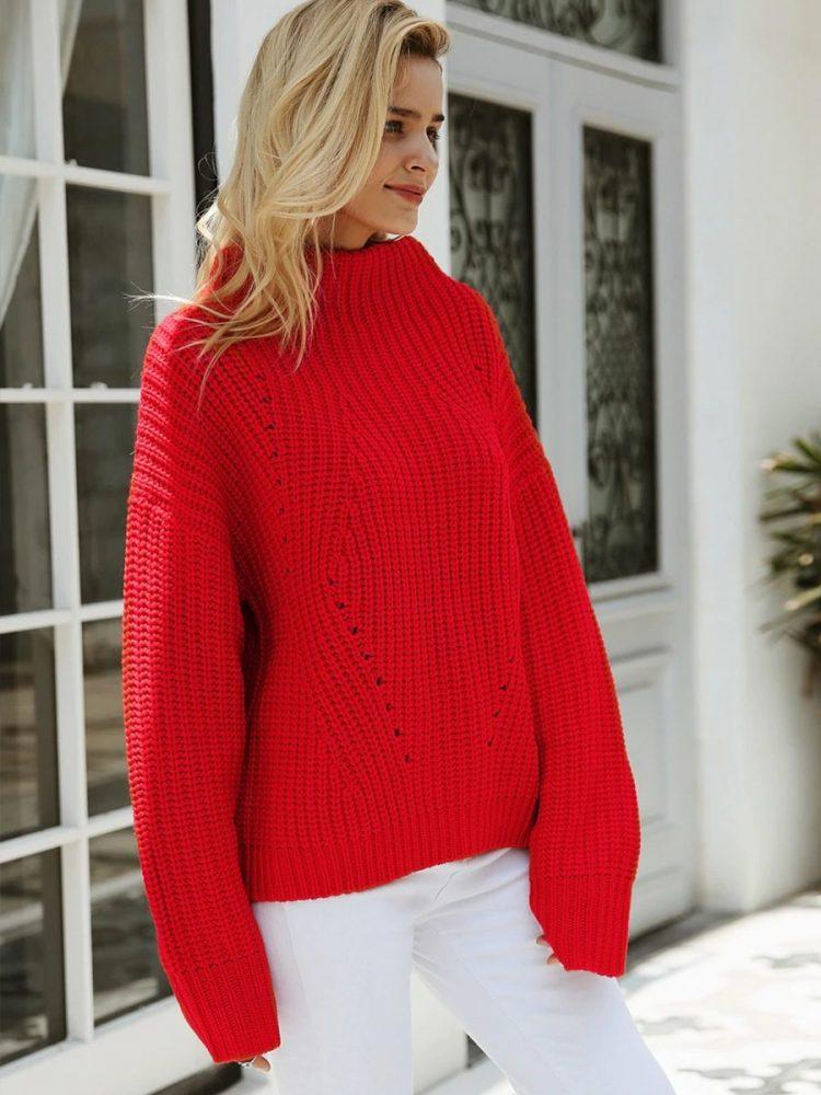 Damski czerwony sweter z półgolfem 5