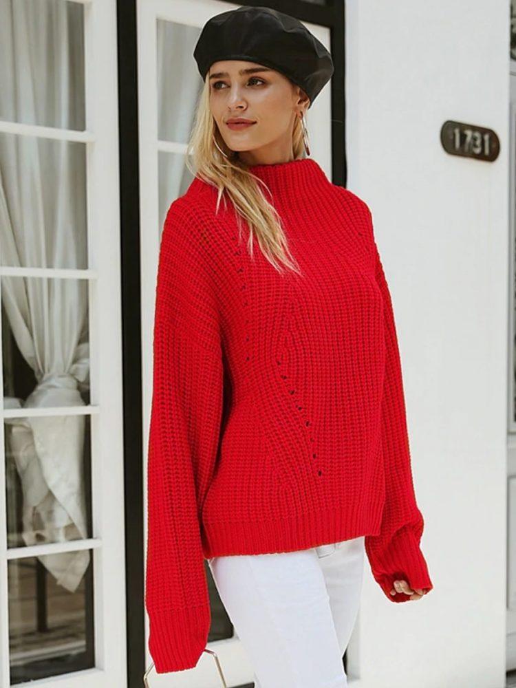 Damski czerwony sweter z półgolfem