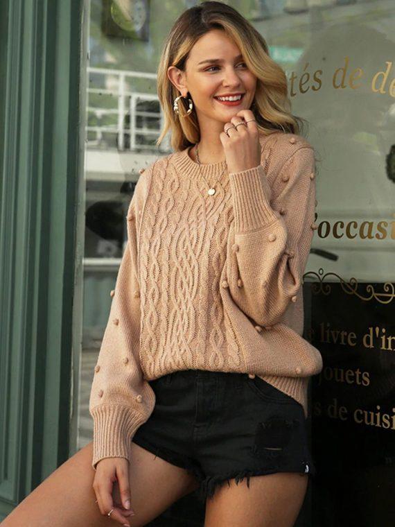 Damski mocca sweter z kulkami na rękawach 1