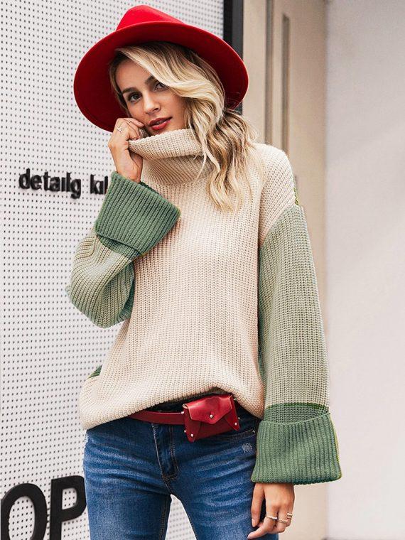 Kolorowy sweter z grubym golfem i mankietami 1