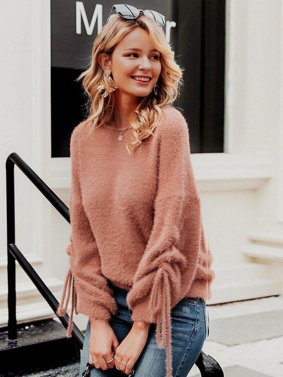 Łososiowy puchaty sweter z wiązaniem na rękawach 1