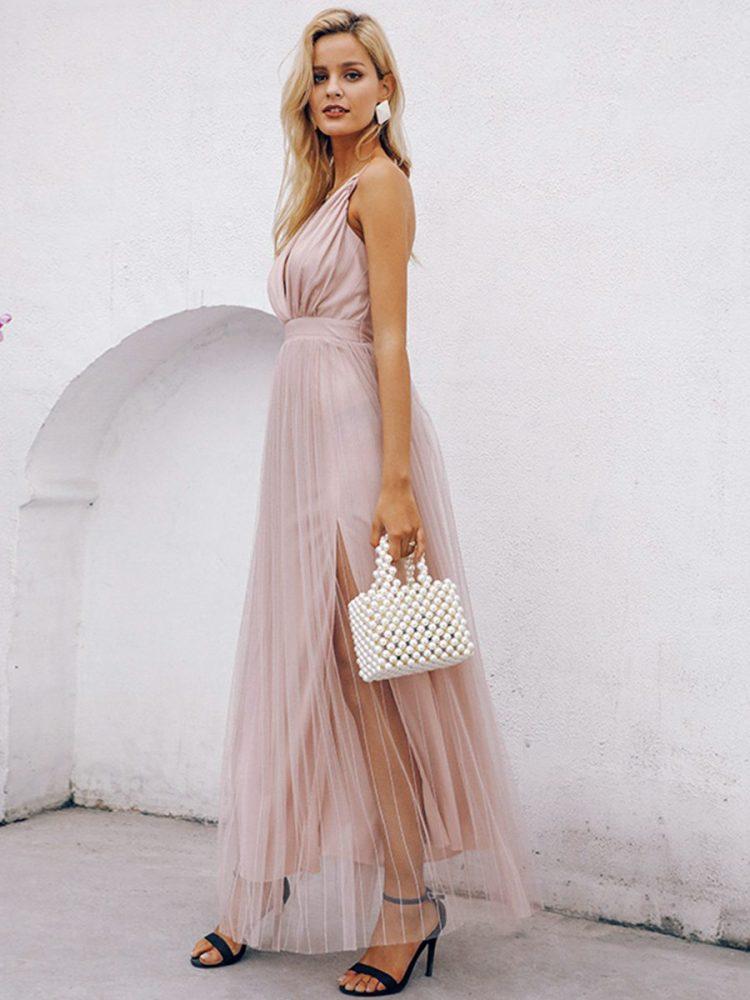 Pudrowa maxi sukienka z tiulowym dołem na wesele 3