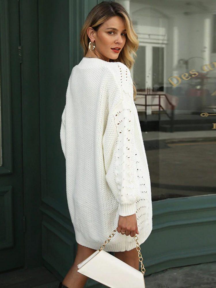 Sweter ażurowy biały kardigan bez kołnierza 3