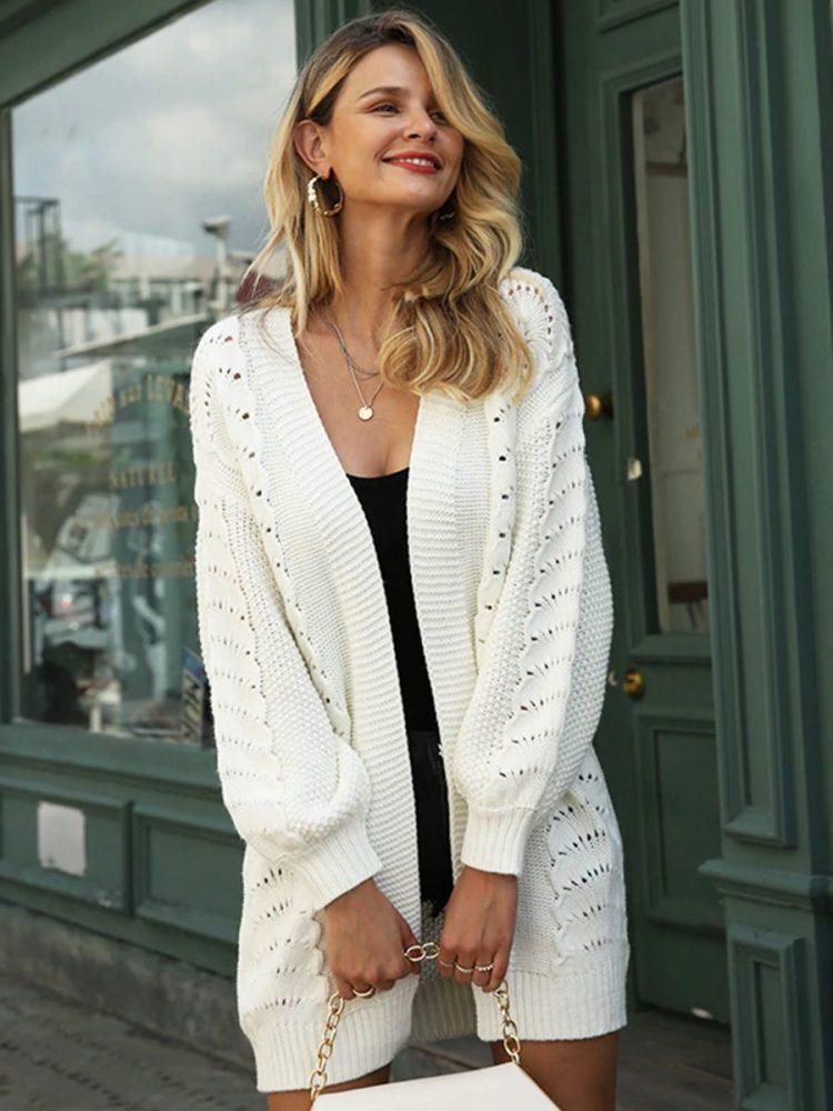 Sweter ażurowy biały kardigan bez kołnierza