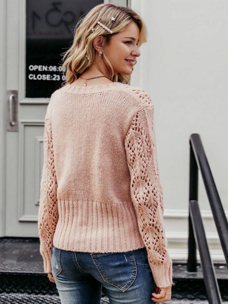 Sweter damski pudrowy róż kardigan z guzikami 4