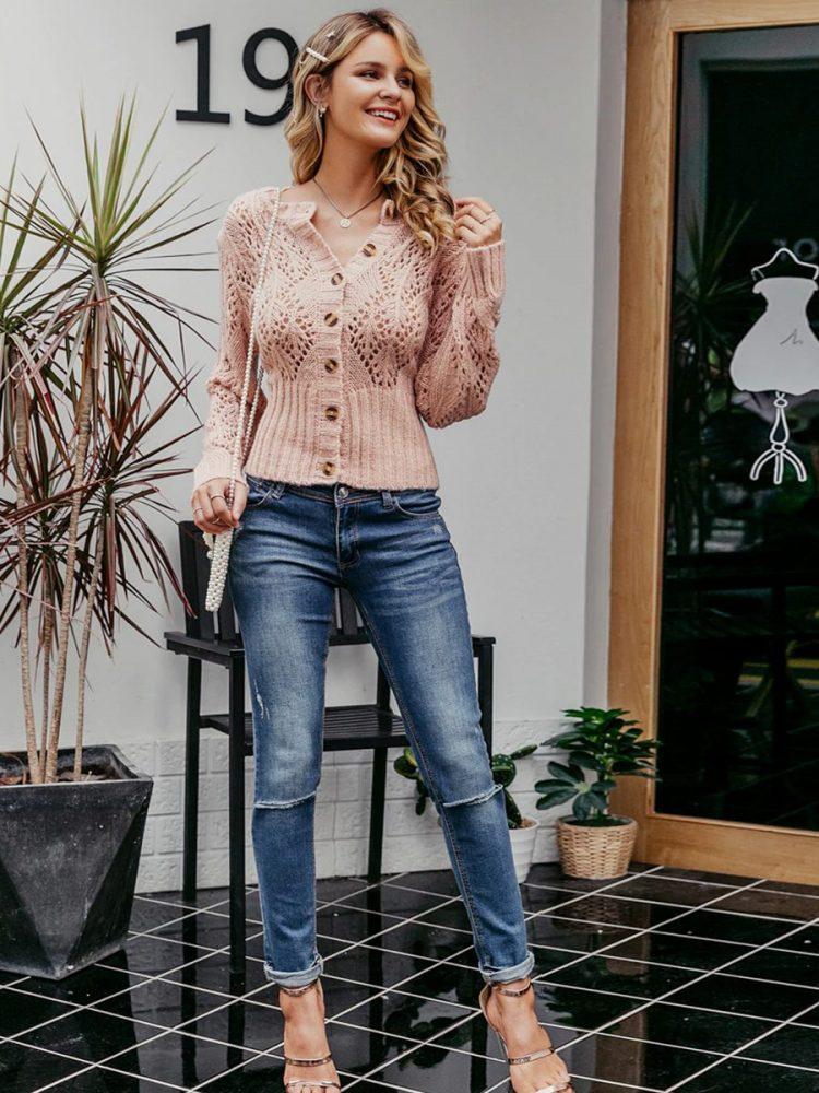 Sweter damski pudrowy róż kardigan z guzikami 5