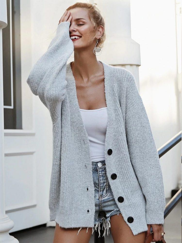 Szary sweter damski rozpinany melanżowy 2
