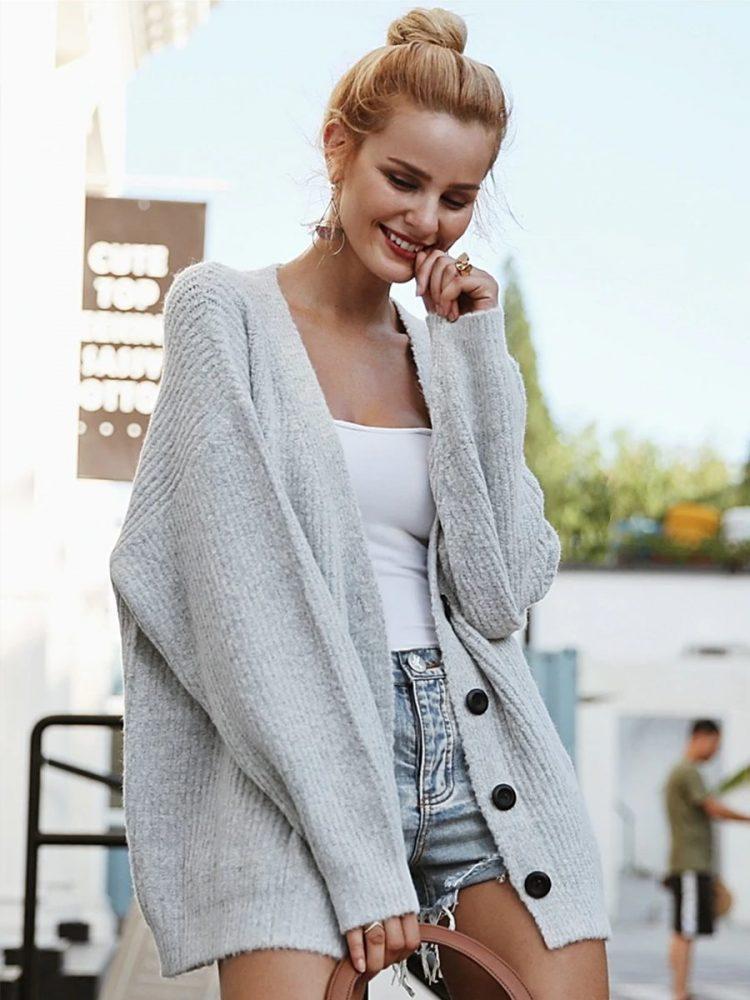 Szary sweter damski rozpinany melanżowy 3