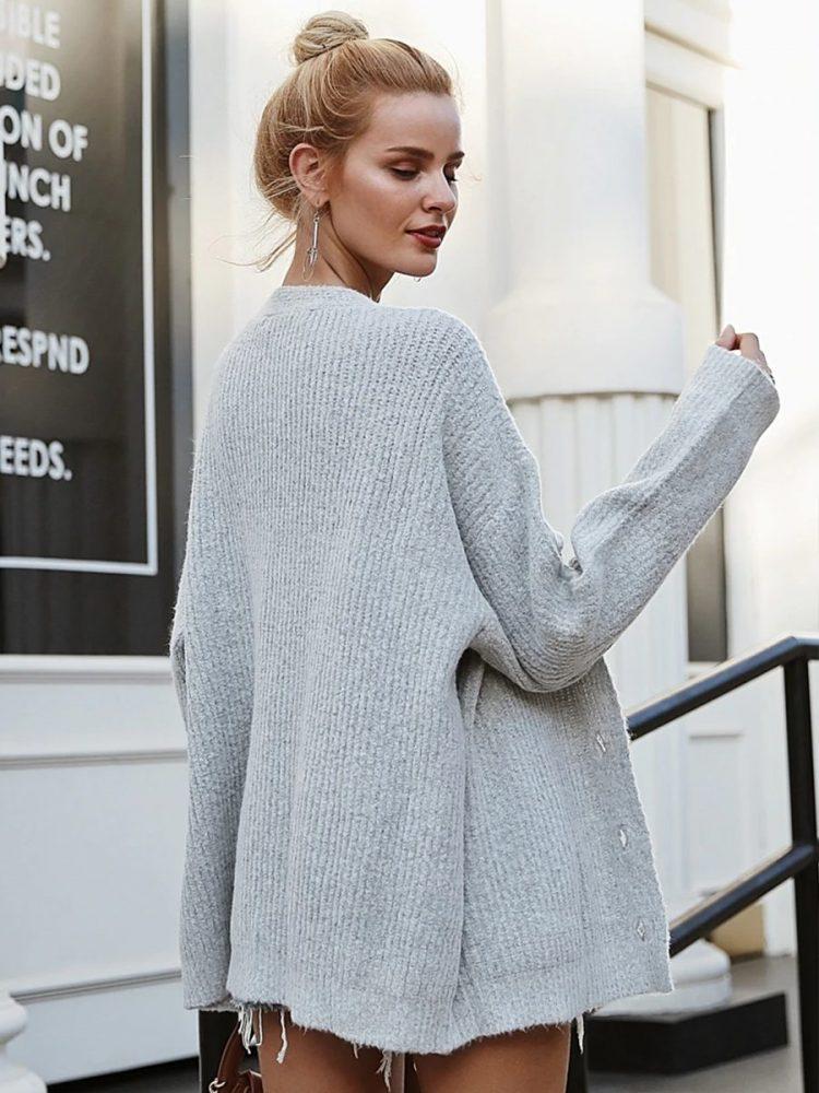Szary sweter damski rozpinany melanżowy 4