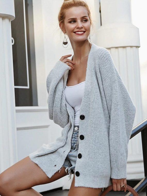 Szary sweter damski rozpinany melanżowy 5