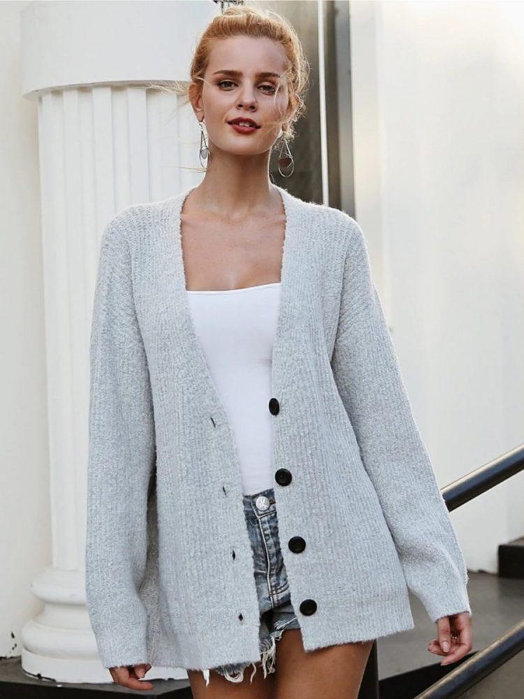 Szary sweter damski rozpinany melanżowy