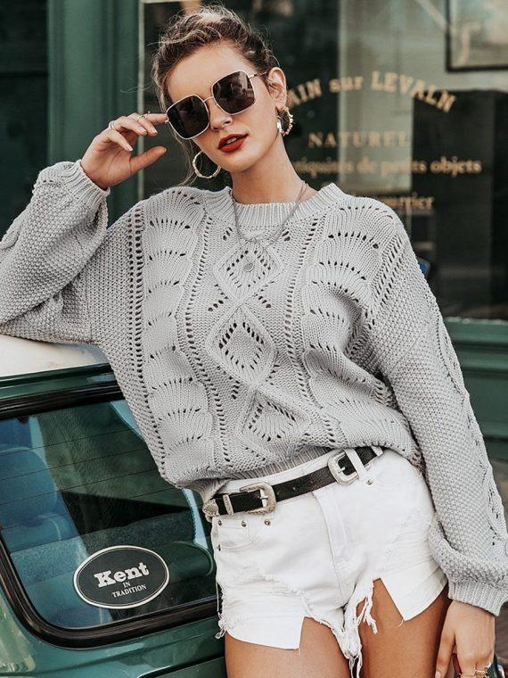 Szary sweter szydełko pleciony oversize 2