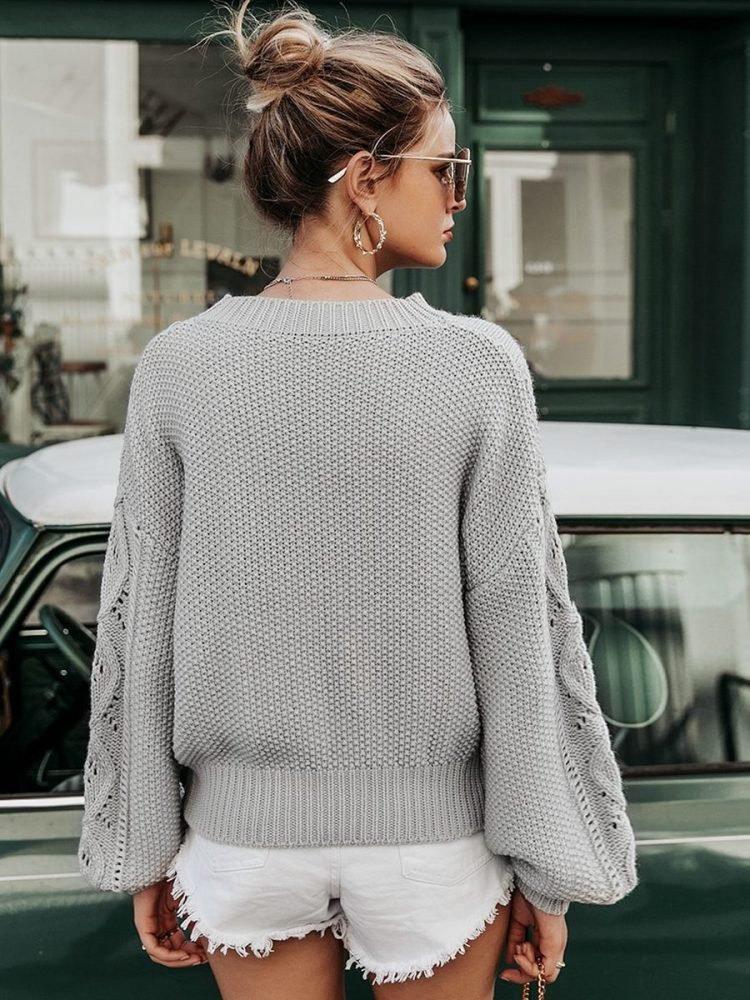 Szary sweter szydełko pleciony oversize 4