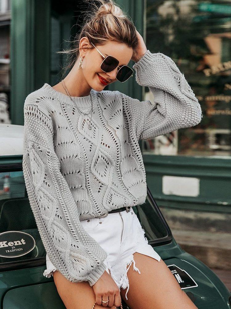 Szary sweter szydełko pleciony oversize