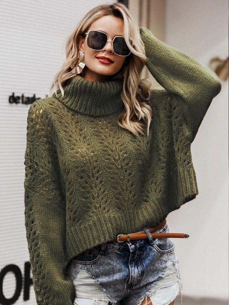 Zielony butelkowy sweter z grubym golfem 1