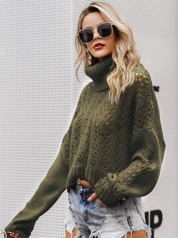 Zielony butelkowy sweter z grubym golfem 3