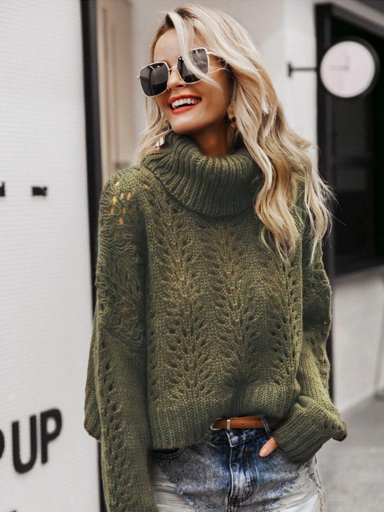 Zielony butelkowy sweter z grubym golfem
