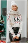 Biały świąteczny sweter damski z motywem reniferów 3