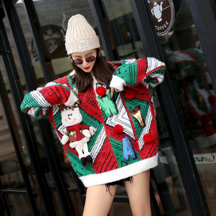 Czerwono zielony sweter świąteczny bożonarodzeniowy z wypukłym bałwanem i napisem