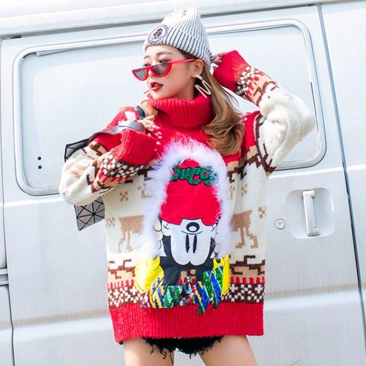 Czerwony damski golf sweter świąteczny z norweskim wzorem 2