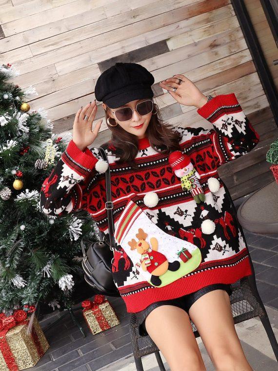 Kolorowy damski sweter świąteczny z aksamitną skarpetą w formie schowku 1
