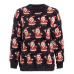 Moherowy sweter świąteczny wielokolorowy z motywem świętego mikołaja 3