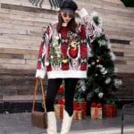 Oversizowy sweter świąteczny w norweski wzór z choinką i reniferem