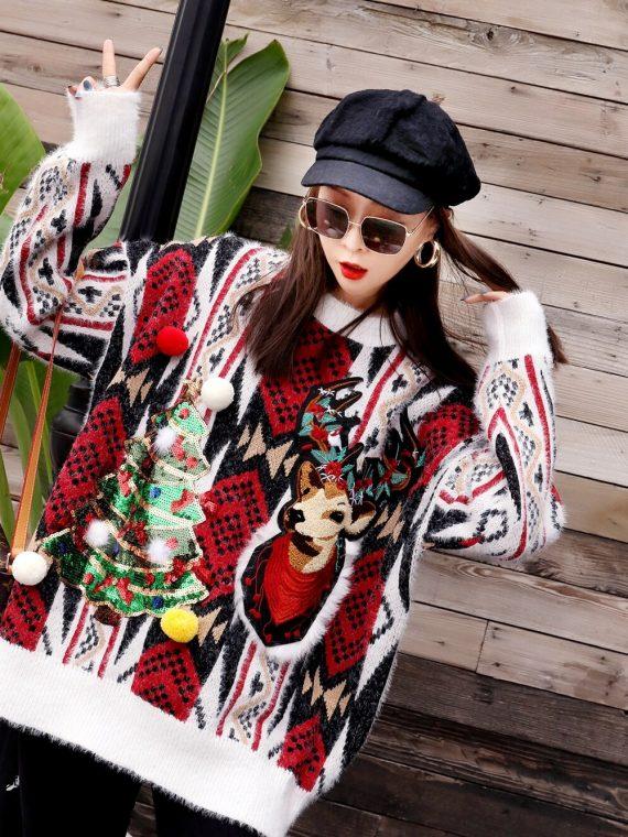 Oversizowy sweter świąteczny w norweski wzór z choinką i reniferem 2