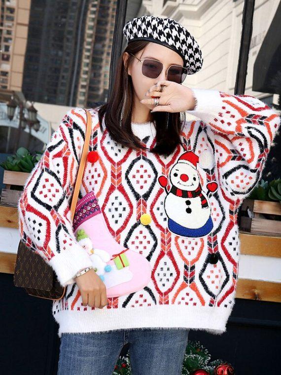 Wielokolorowy sweter damski świąteczny z naszywanym bałwanem 3D 5