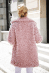 Jasno Różowy Futerkowy Płaszcz typu Fluffy