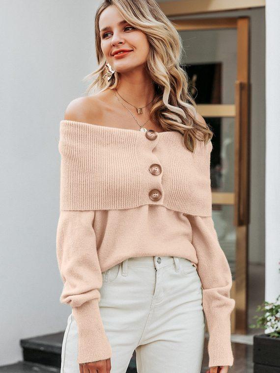 Kremowy sweter z guzikami z możliwością zapięcia go w golf jak i w formie odsłaniającej ramiona