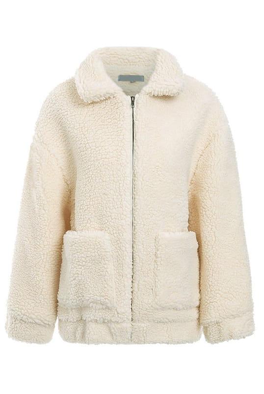 Przejściowa biała kurtka damska futrzana futerko