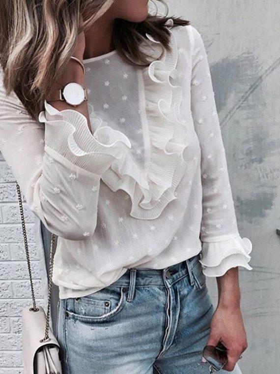 Damska szyfonowa koronkowa bluzka w kropki z falbanami na przodzie biała